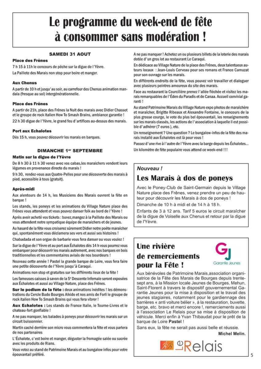 Programme fête des Marais 2019